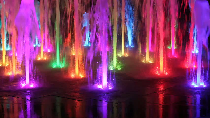 Beautiful colorful fountain at night