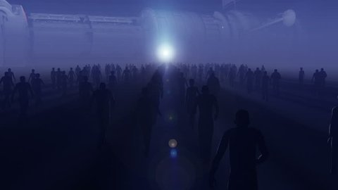 Hundreds of people male and female in silhouette, walking in mist towards enormous space craft