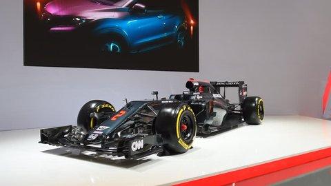 BRUSSELS, BELGIUM - JANUARY 13: McLaren-Honda MP4-31 2016 Formula 1 Grand Prix race car on display during the 2017 Brussels Motor Show