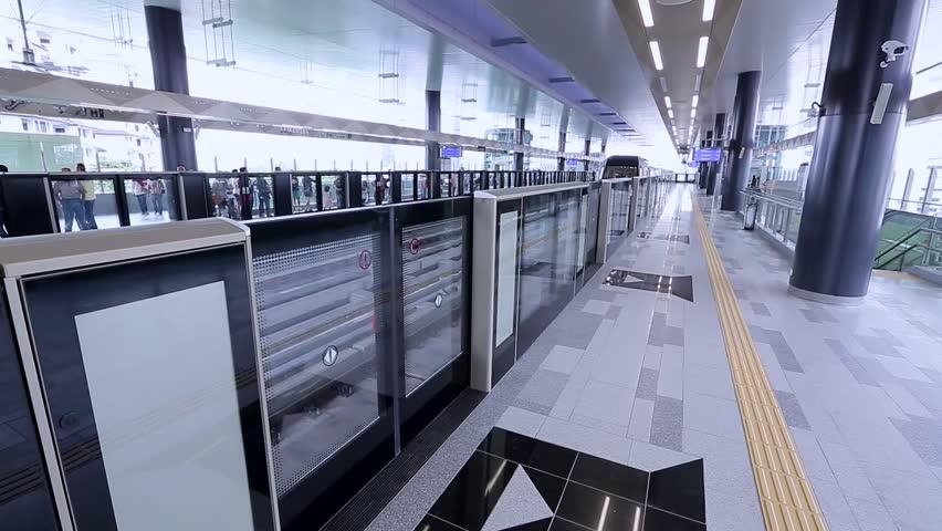 KUALA LUMPUR, MALAYSIA - DECEMBER 25, 2016 : People using Malaysia MRT (Mass Rapid Transit) train, a transportation for future generation.