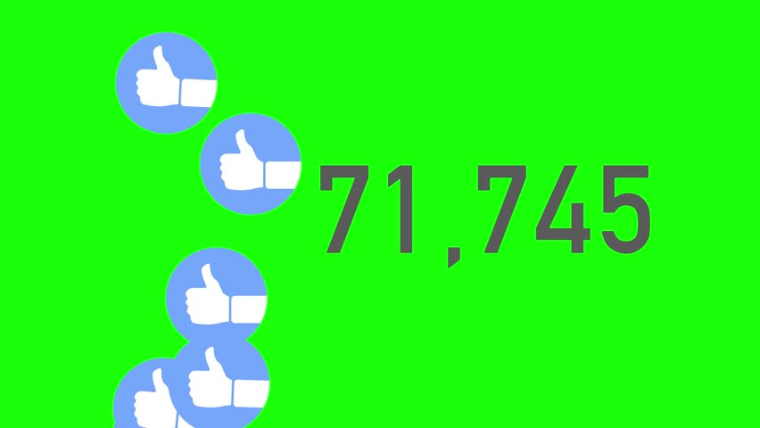 A close up shot of 100,000 likes being counted with thumbs-up icons on a social network page. Green screen.  	 | Shutterstock HD Video #23672101