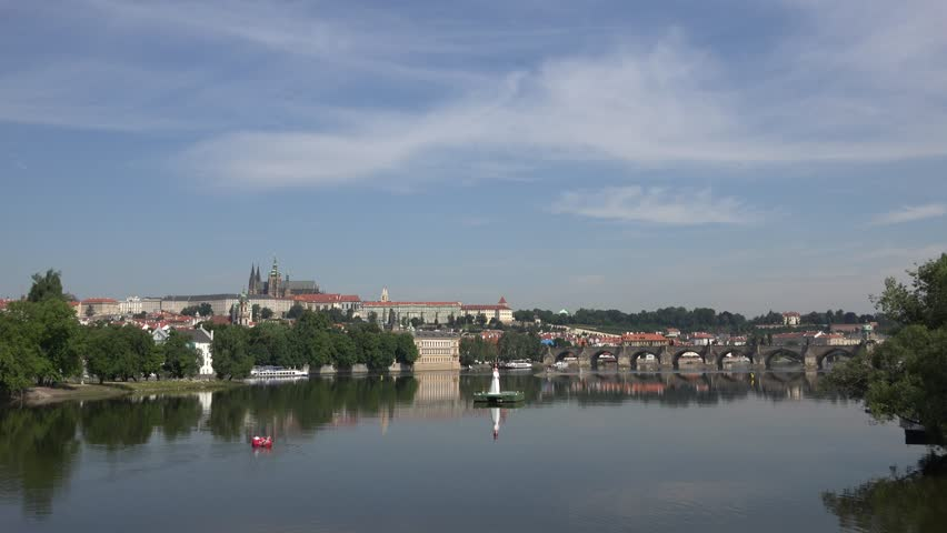 4K Beautiful Prague panorama with famous Castle and Charles Bridge landmark, emblem   Shutterstock HD Video #23688541