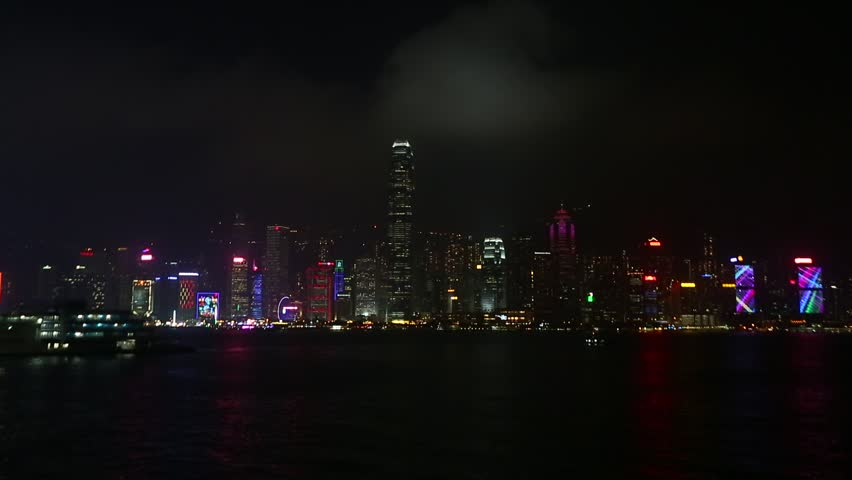 Beautiful super wide-angle summer aerial view View of Hong Kong island skyline, Victoria Bay harbor, with skyscrapers, blue sky and scenery beyond the city, seen from Kowloon island observation Deck | Shutterstock HD Video #23705461