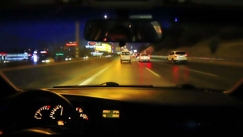 Night fast driving on city highway. Timelapse 30sec. HD shot from car interior. Driving with a car mounted video camera