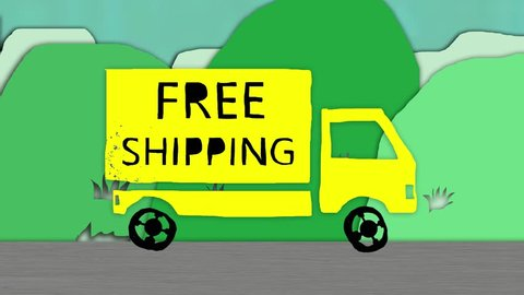Truck with FREE SHIPPING written on it driving. Cartoon stop motion animation.