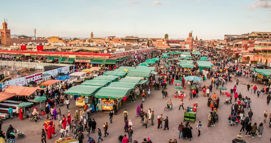 MARRAKECH, MOROCCO timelapse People on Jemaa el Fna square and market place in medina quarter 07 january, 2017