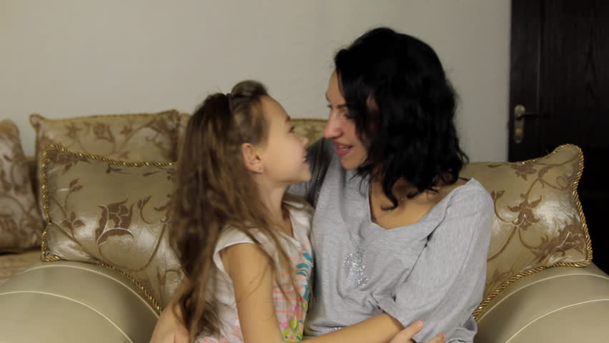 Mother And Daughter Kissing Love Stock Footage Video -5678