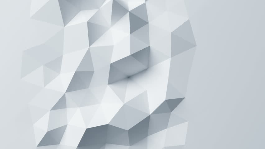 Beautiful White Low Poly Surface Morphing in...