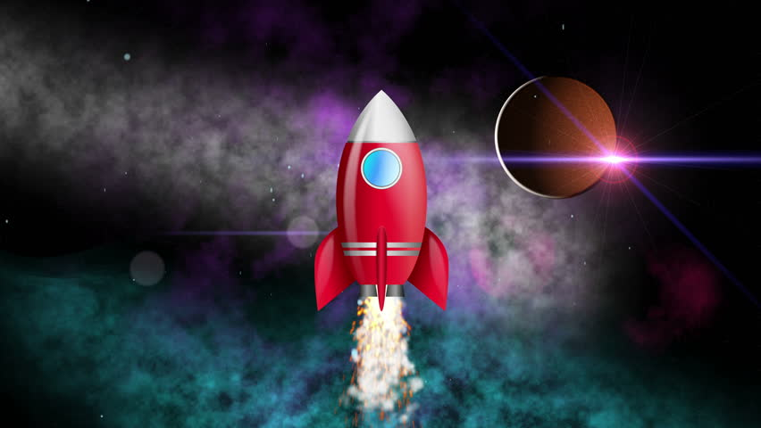 Animation cartoon rocket flying to the planet Mars. 4K UHD animated video seamless loop.