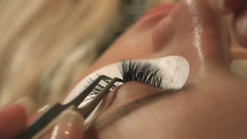 Woman Eye with Long Eyelashes. Eyelash Extension. Lashes, close up, selected focus.
