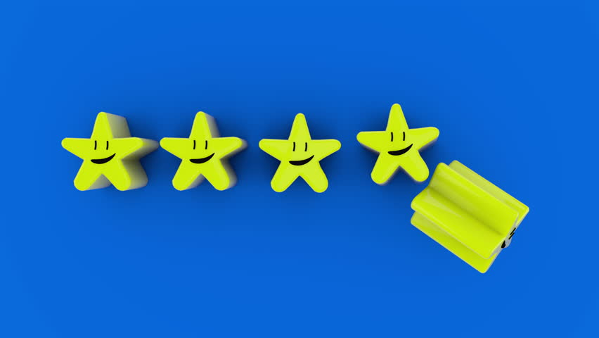 Five Cartoon Stars Animation Loop. a line of five cartoon stars animate from the bottom to the middle and to the top and loop. With luma matte and ambient occlusion passes