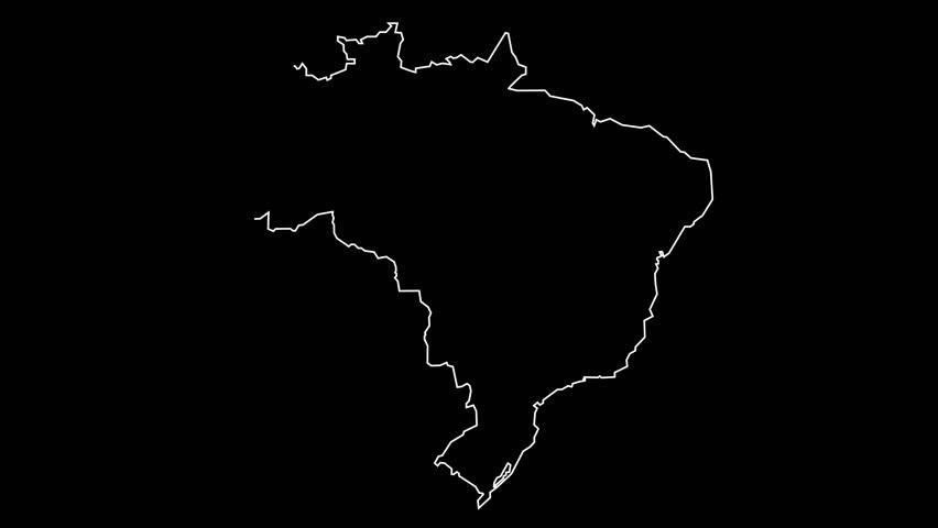 Brazil map outline animation