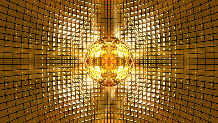 Fly Around Golden Disco Ball Glittering Mirror Ball