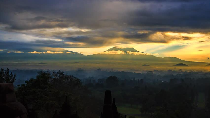 Time lapse Merapi volcano Mount Merapi at yogyakarta in Indonesia