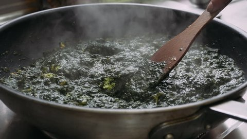vegetarian dishes Palak paneer. Spinach and paneer in a pan
