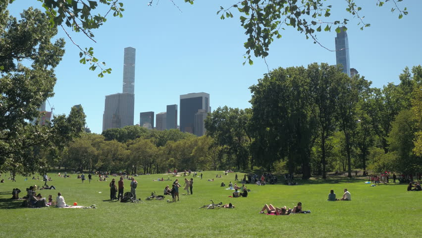 NEW YORK, USA - SEPTEMBER 23rd 2016, CLOSE UP: Families, kids, young and senior couples, friends, tourists enjoying relaxing sunny day in green Central park. People having picnics.