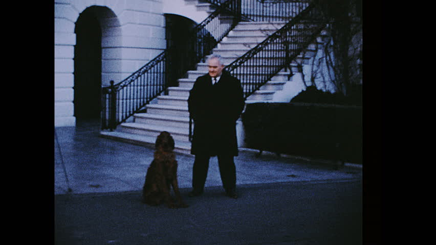 UNITED STATES 1960s: Handler outside White House with dog / Nixon aides in deck chairs by ocean, woman walks past camera.