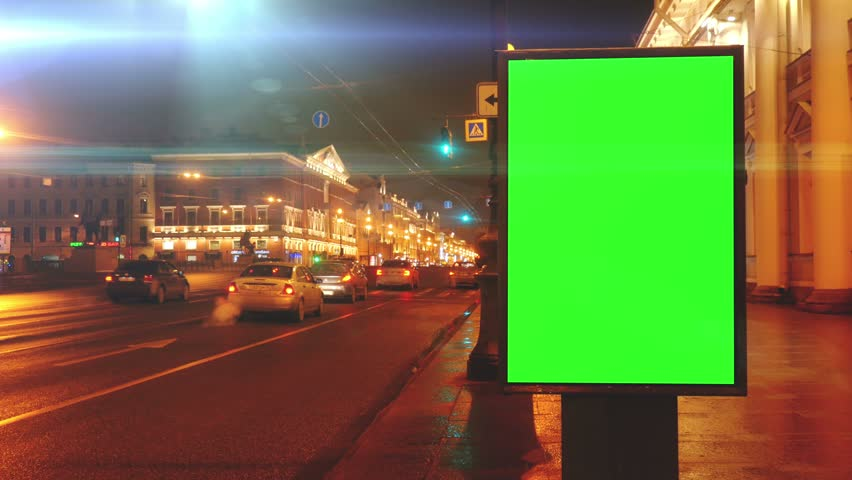 A Billboard with a Green Screen on a Streets | Shutterstock HD Video #23935291