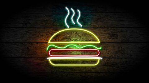 Neon Hamburger sign turning on and blinking on grunge wood wall with copy space, food and drinks sign loop, fast food and health care concept. full hd and 4k.