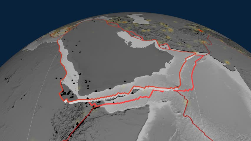 Arabia tectonics featured. Elevation grayscale. Plate extruded and animated against the globe. Tectonic plates borders (newest division), earthquakes by strength & volcanic cones | Shutterstock HD Video #23961241