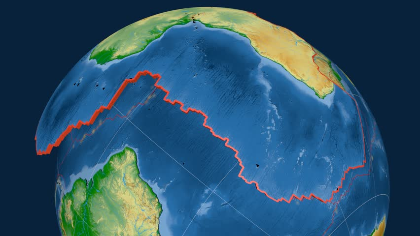 Africa tectonics featured. Physical. Plate extruded and animated against the globe. Tectonic plates borders (newest division), earthquakes by strength & volcanic cones | Shutterstock HD Video #23961379