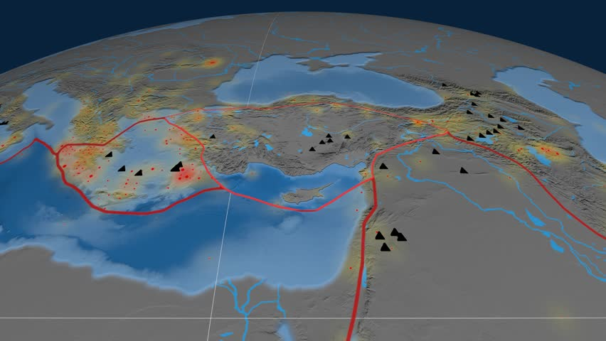 Anatolia tectonics featured. Topo and bathy. Plate extruded and animated against the globe. Tectonic plates borders (newest division), earthquakes by strength & volcanic cones | Shutterstock HD Video #23961391