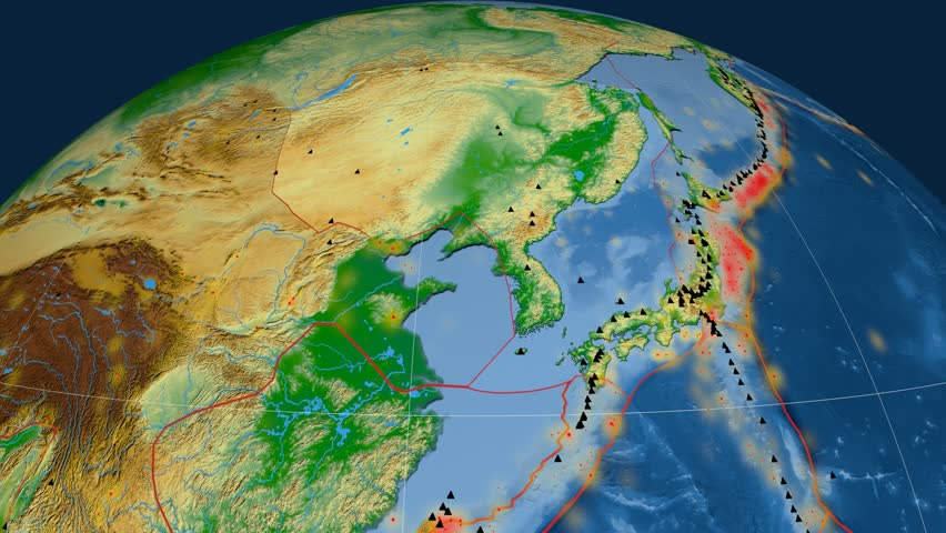 Amur tectonics featured. Physical. Plate extruded and animated against the globe. Tectonic plates borders (newest division), earthquakes by strength & volcanic cones | Shutterstock HD Video #23961421