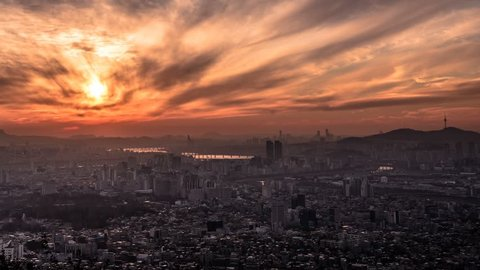 From the beautiful evening sun to the evening sky from the beautiful evening sunshine to the night. seoul. south korea.