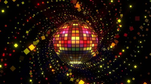 Neon Disco ball seamless VJ loop animation for music broadcast TV, night clubs, music videos, LED screens and projectors, glamour and fashion events, jazz, pops, funky and disco party.