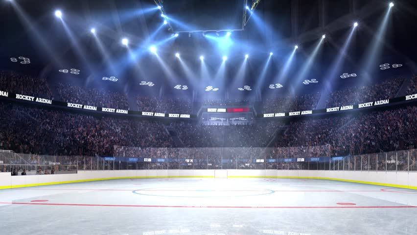 Hockey court with people fan. Sport arena. Ready to start championship. 3d render. Moving lights  | Shutterstock HD Video #24013750