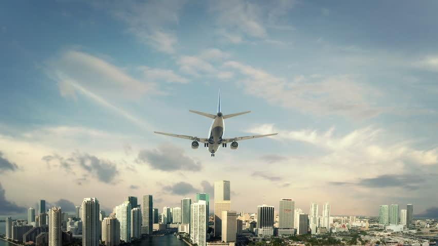 Airplane Landing Miami USA third version