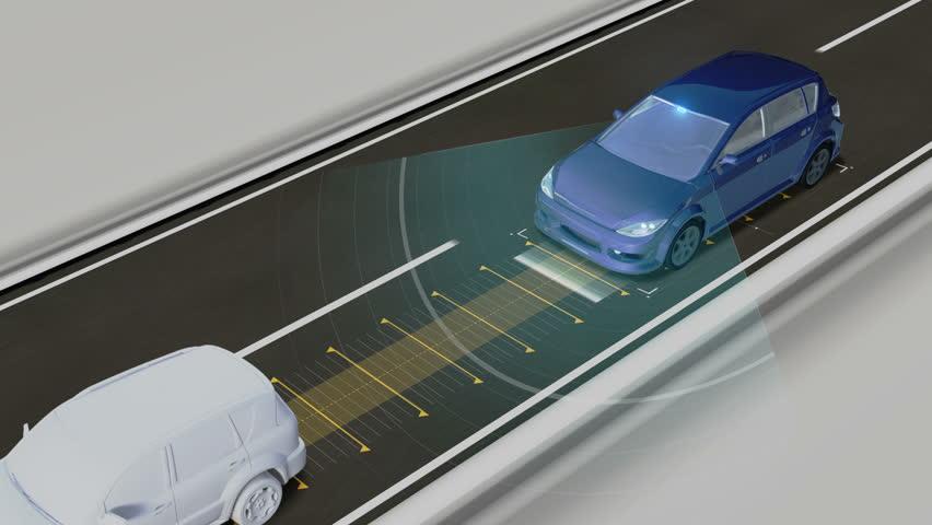 Autonomous vehicle, Keep the car distance, Automatic driving technology. Unmanned car, IOT connect car.
