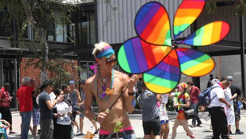 WEST HOLLYWOOD - JUNE 10: Unidentified man participates in annual pride parade on June 10, 2012 in West Hollywood, California