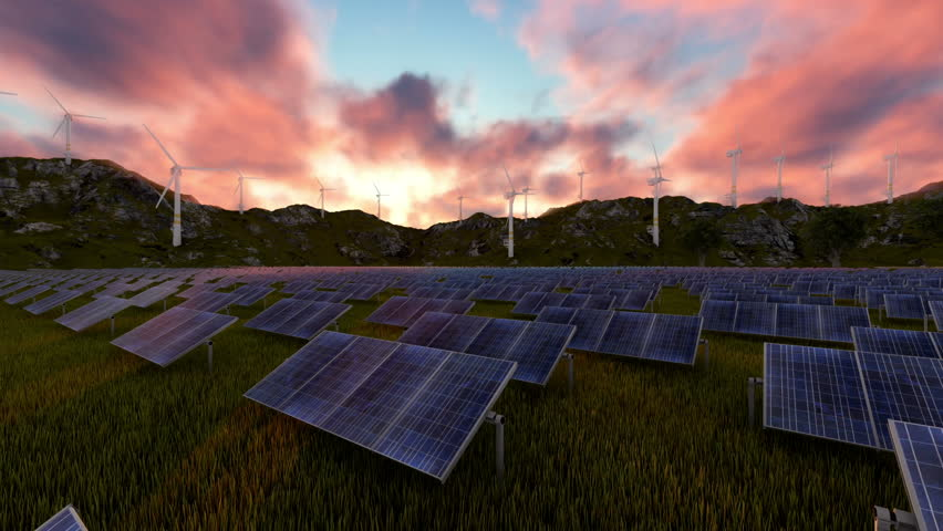 Wind Mills On Mountain and Farm Of Solar Pannels At Sunset | Shutterstock HD Video #24103561