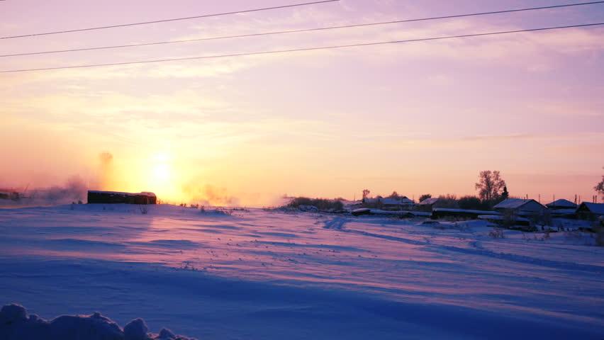 Winter Rural Landscape At Dawn Tracking Shot