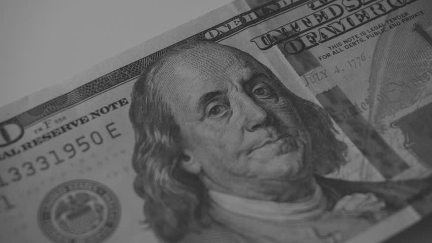 Businessman is Counting New Dollar Bills. Dollars Close-Up Black & White    Shutterstock HD Video #24125341