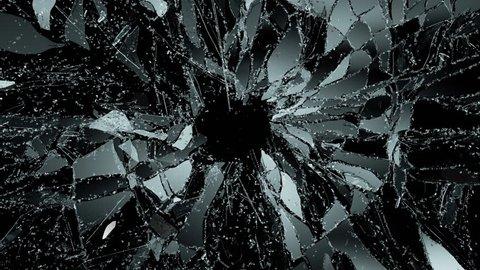 Pieces of destructed Shattered glass in slow motion in 4k. Alpha matte. 3d render, 3d rendering