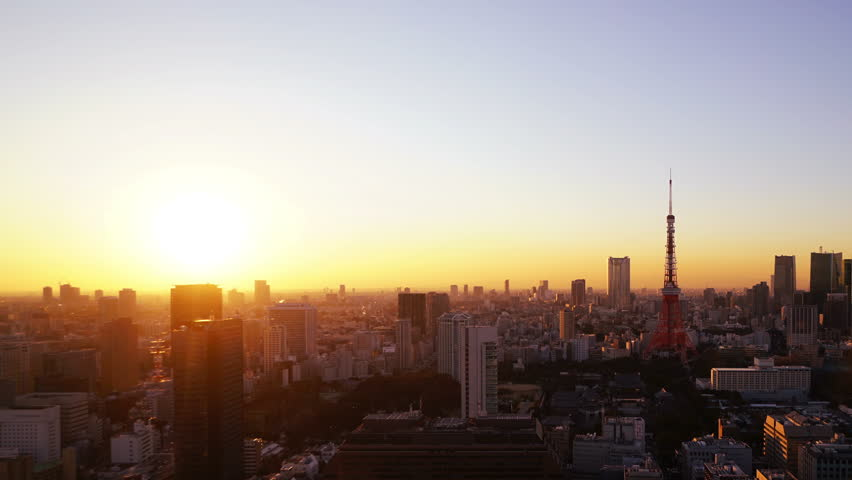 Tokyo City Scenery Tokyo Tower Sunset Sunset Fuji Townscape of the big city