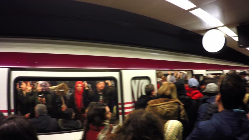 ISTANBUL - FEB 13, 2017: Metro train services disrupted today during rush hours after a technical snag hit the Kartal line causing delays and overcrowding at various stations