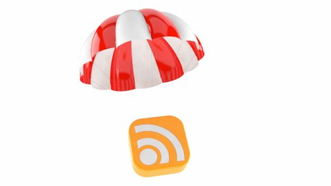 Icon with parachute isolated on white background