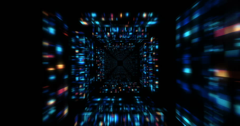 3D Futuristic abstract background. Motion graphic for abstract data center, server, internet, speed.  Loop at 4K resolution.
