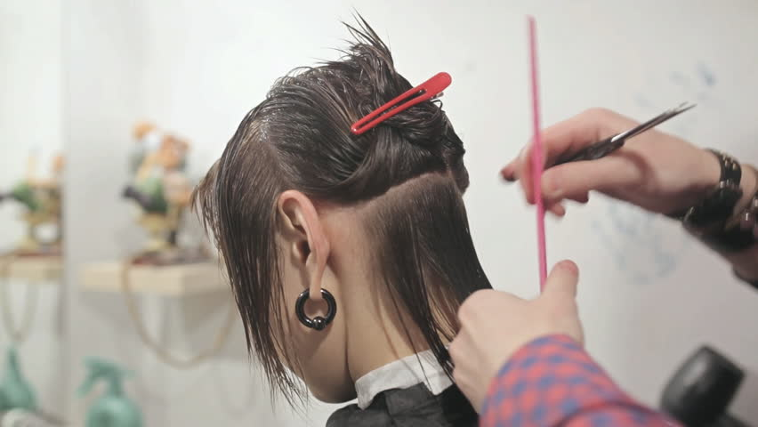 Hairdresser Makes Hairstyle Hd Stock Footage Clip