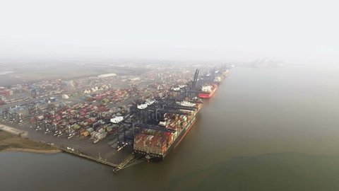 PORT OF FELIXSTOWE, UK - CIRCA FEBRUARY 2017: aerial view of United Kingdom's busiest container port, dealing with 42% of Britain's containerised trade.