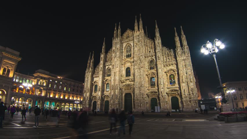 Most famous cathedral in Milan Duomo in Hyperlapse 4k UHD February 2017