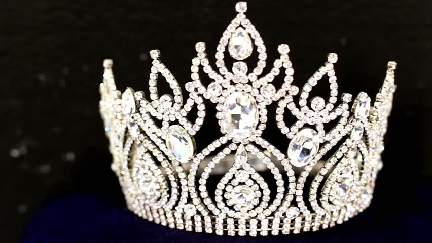 Diamond Crown of Beauty Pageant Contest, dolly slider from right to left with black background