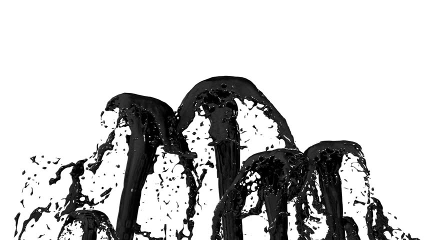Beautiful fountain spray liquid like black paint or oil, fountain with many liquid streams rising high. 3d render with very high detail. Alpha channel is included use alpha . Version 5