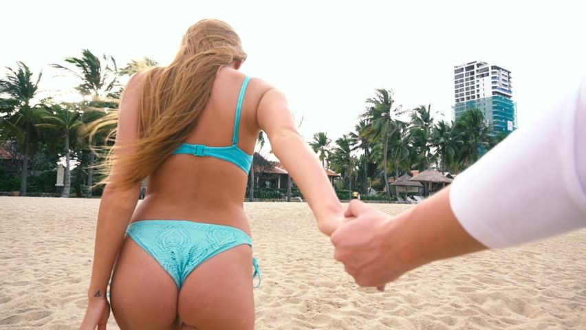 Beach bikini butt girl