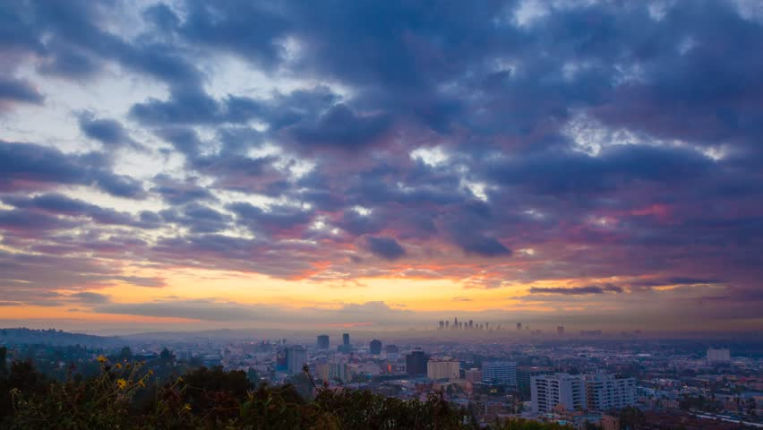 Beautiful sunrise over Los Angeles. Timelapse. | Shutterstock Video #2425172