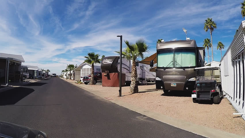 APACHE JUNCTION AZ USA February 16 2017 Driving Past Recreational Vehicles In