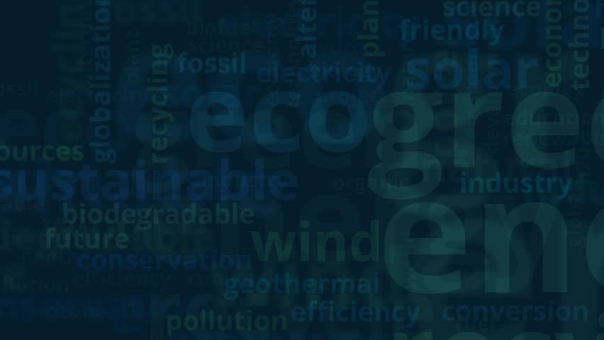 Word cloud with terms about green energy, flat style | Shutterstock HD Video #24306131